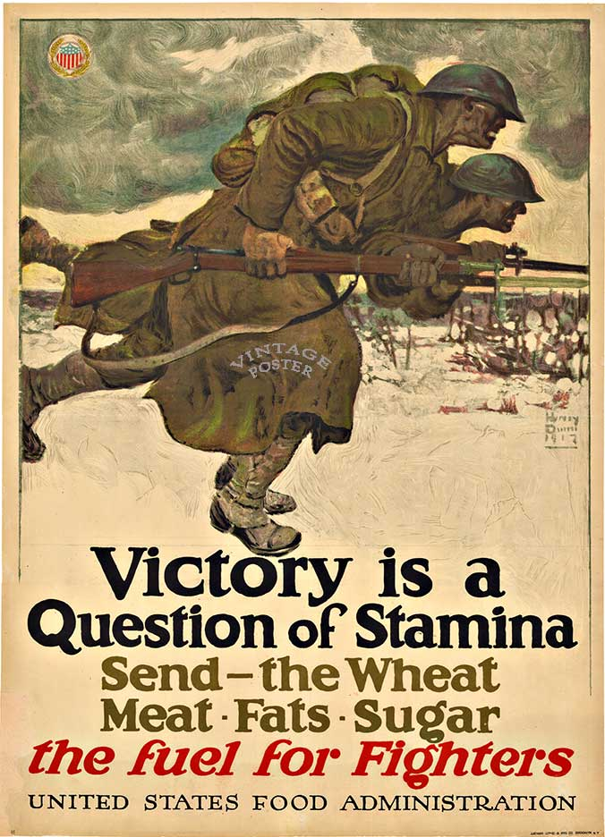 VICTORY IS A QUESTION OF STAMINA; Original WW1, 1917 Vintage Poster