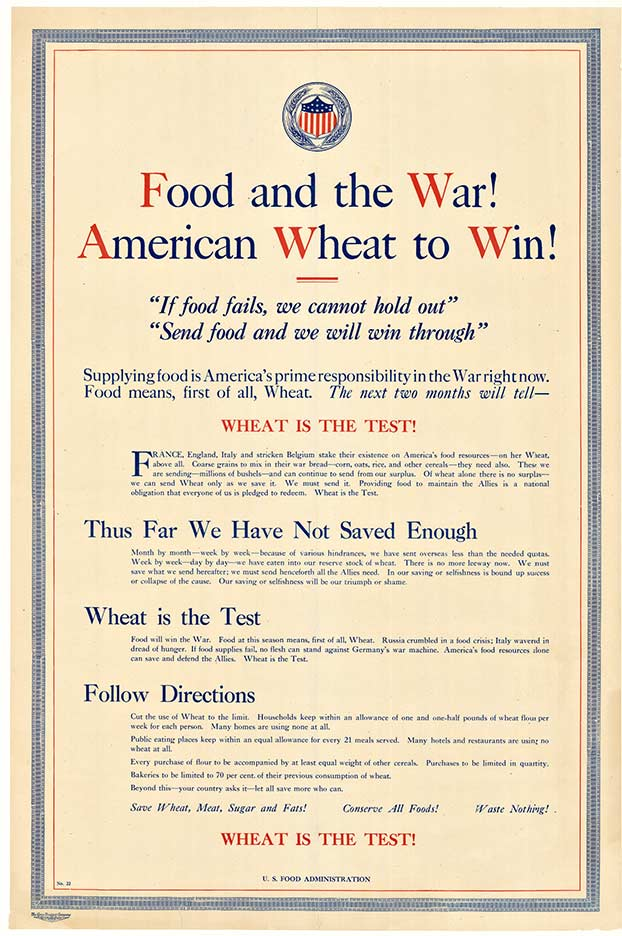 FOOD AND THE WAR!  Rare Original World War 1 antique poster