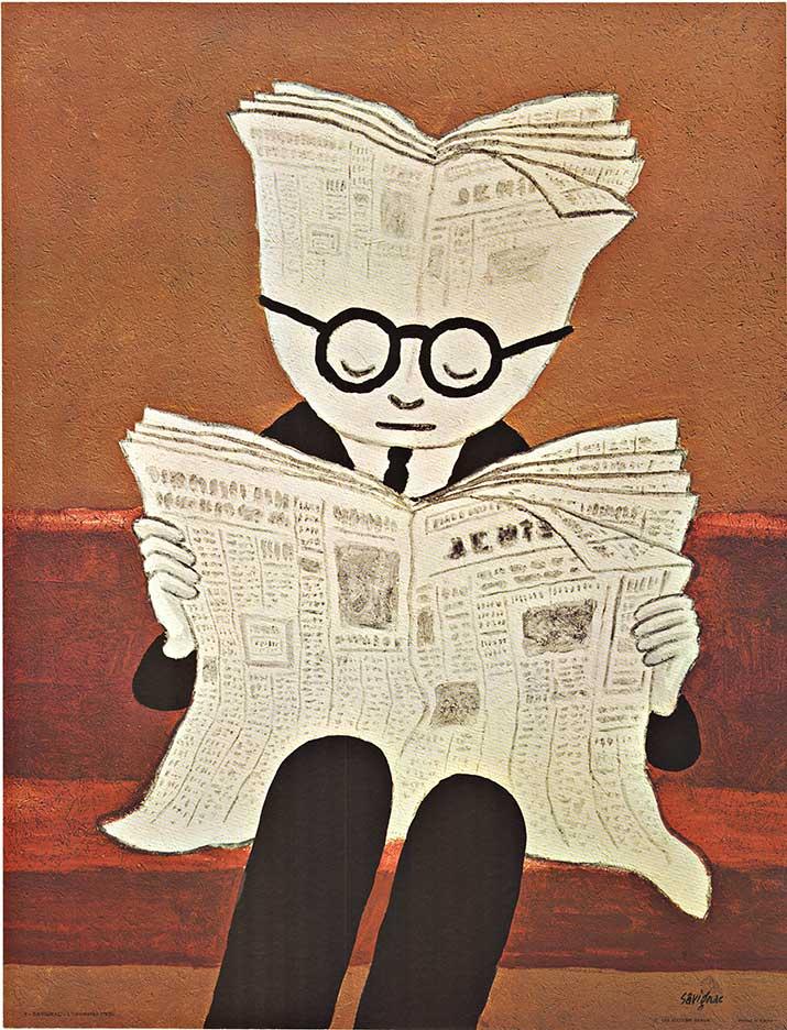 l'Information (Newspaper), Original French poster by Savignac
