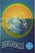HAWAII - PAN AM, Original Hawaiiana Travel poster