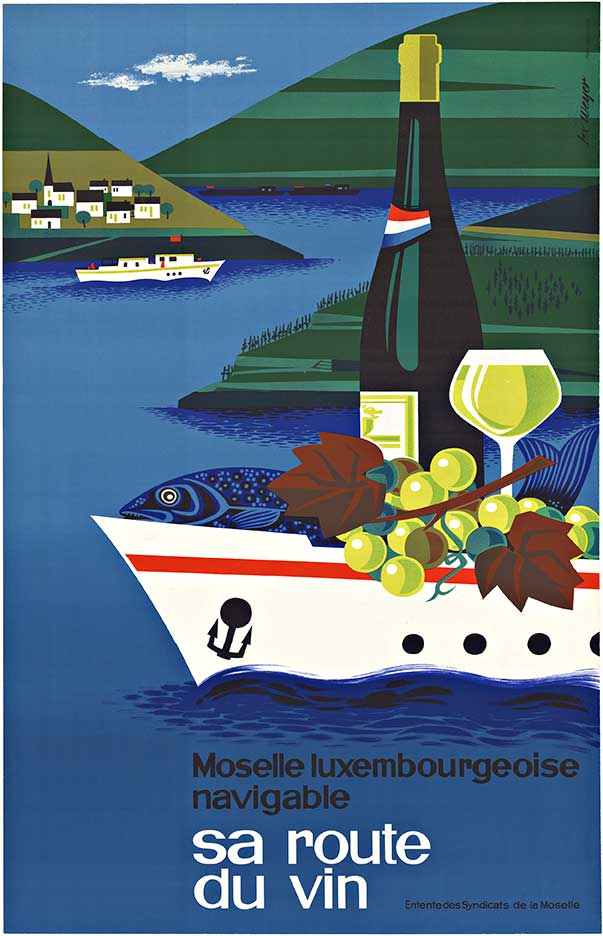SA ROUTE DU VIN; Original European vintage travel poster