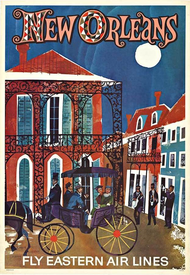NEW ORLEANS - Fly  Eastern Air Lines; Original American travel poster