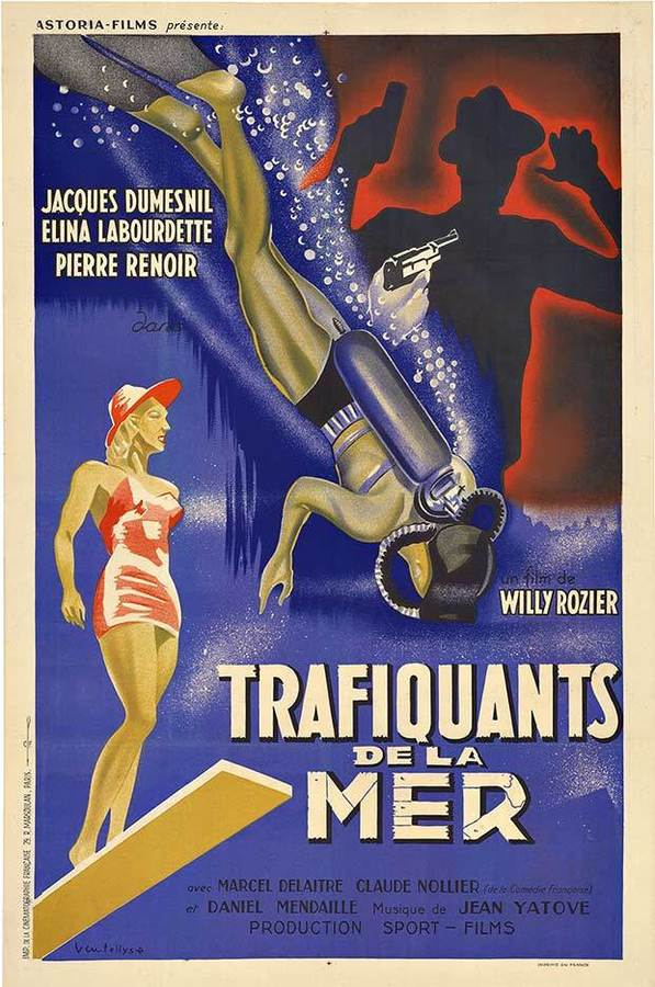 TRAFIQUANTS DE LA MER; Original French movie full lithograph