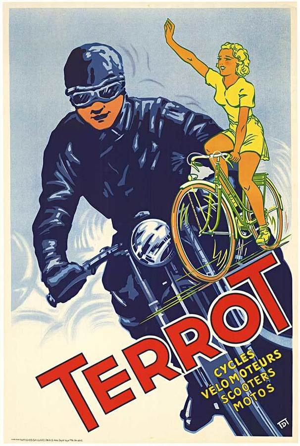 Terrot Cycles; Original French motorcycle, bicycle vintage poster