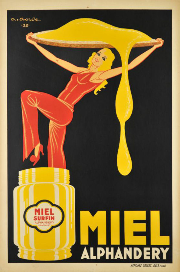 Miel  (honey) Alphandery, Original French honey antique poster