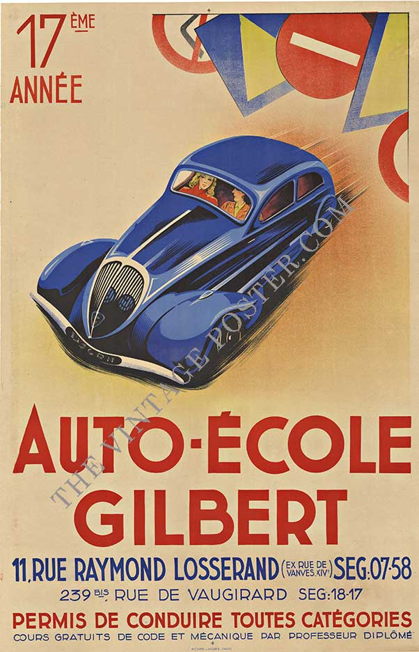 AUTO ECOLE GILBERT, antique French vintage poster