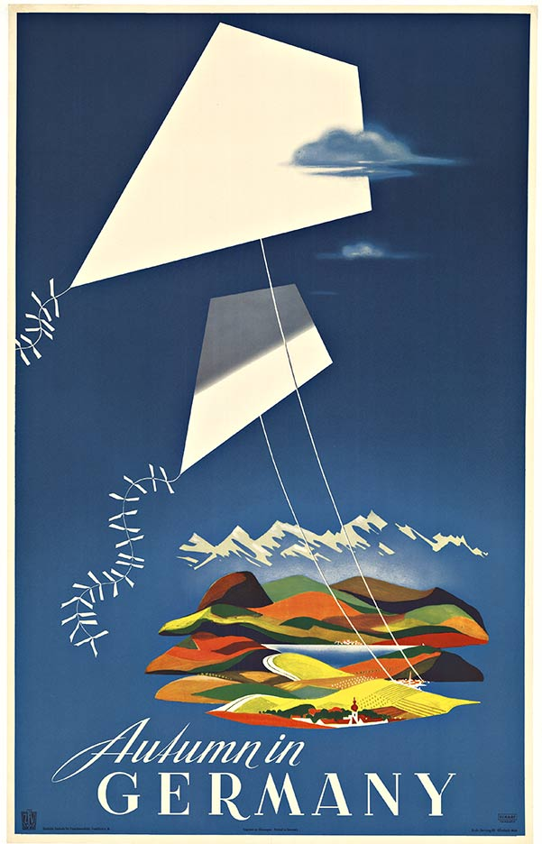 AUTUMN IN GERMANY; original European travel poster
