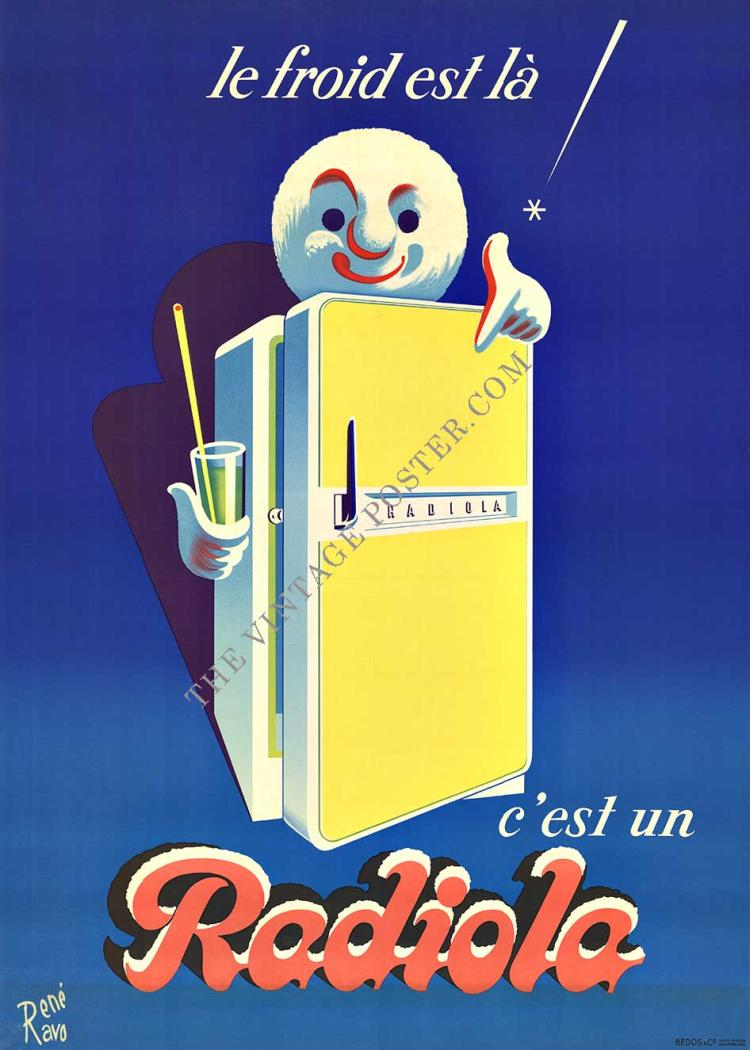 RADIOLA (Refrigerator); original French antique vintage poster
