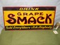"""""""DRINK GRAPE SMACK"""" Early Tin Embossed Advertising Soda Sign-13 x 27"""