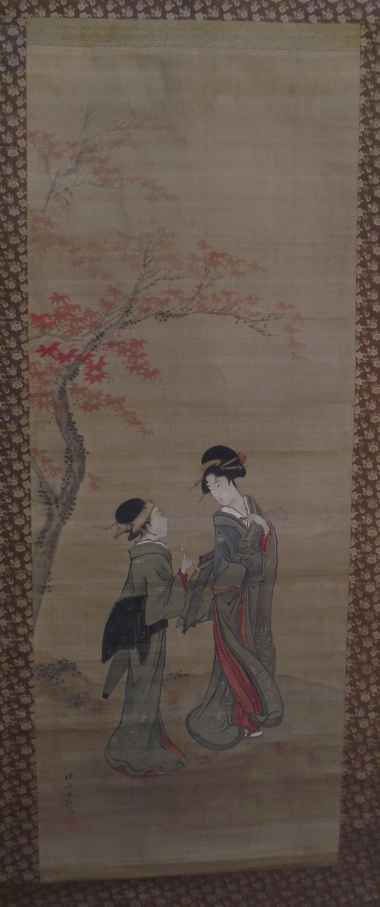 Antique Japanese scroll painting on silk - signed Hokusai