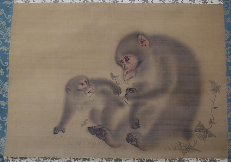 Antique Japanese Scoll Painting on silk- Unsigned (Sosen?)