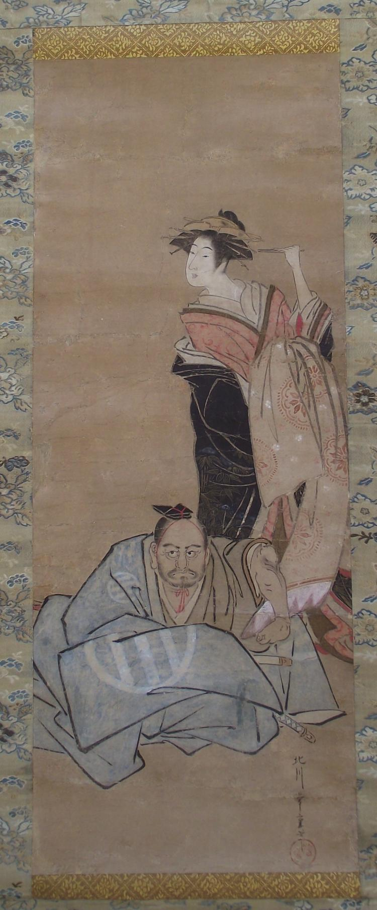 Antique Japanese Scroll Painting on paper - Utagawa School