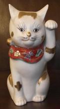 Antique Kutani hand-painted porcelain maneki neko (beckoning cat)