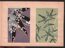Original Japanese Woodblock printed book (ehon) by Unidentified (Textile samples - Bamboo motif)