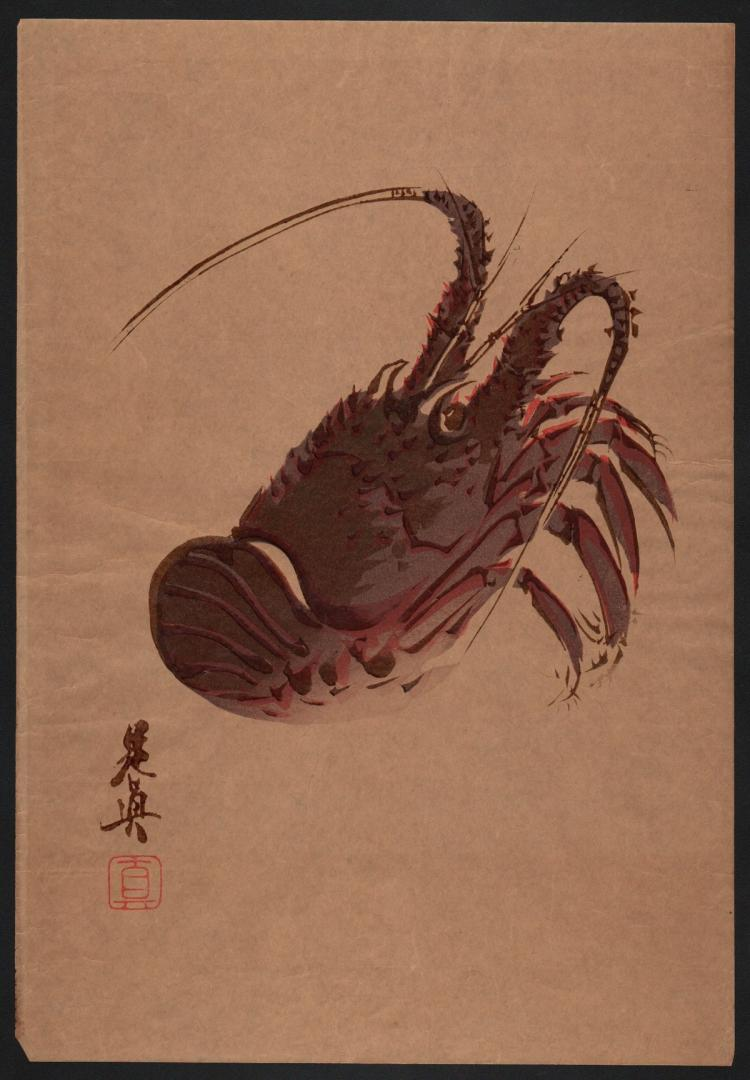 Original Japanese Woodblock Print by Zeshin - Lobster (Lacquered)