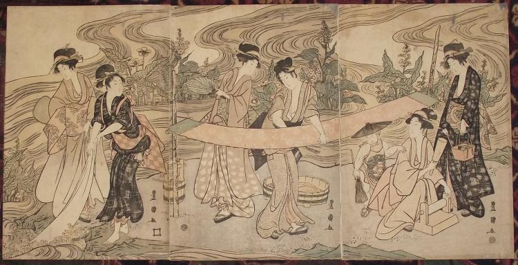 Original Japanese Woodblock Print by Toyokuni I - Triptych