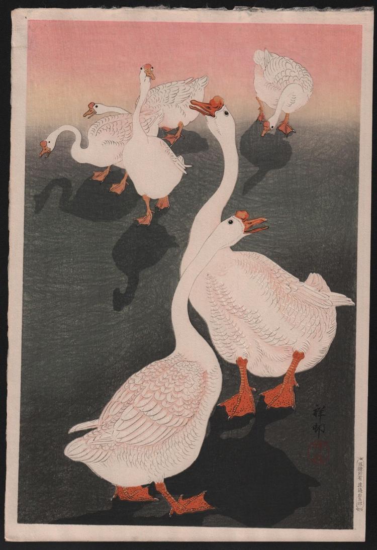 Original Japanese woodblock print by Ohara Koson