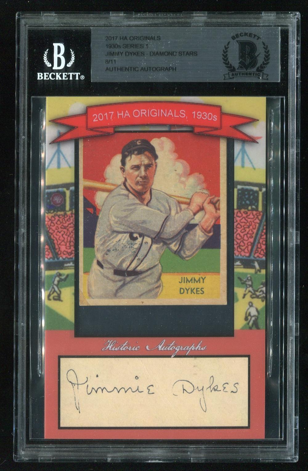 1935 Diamond Stars Jimmy Dykes 42 With Signature Cut 811 Beckett