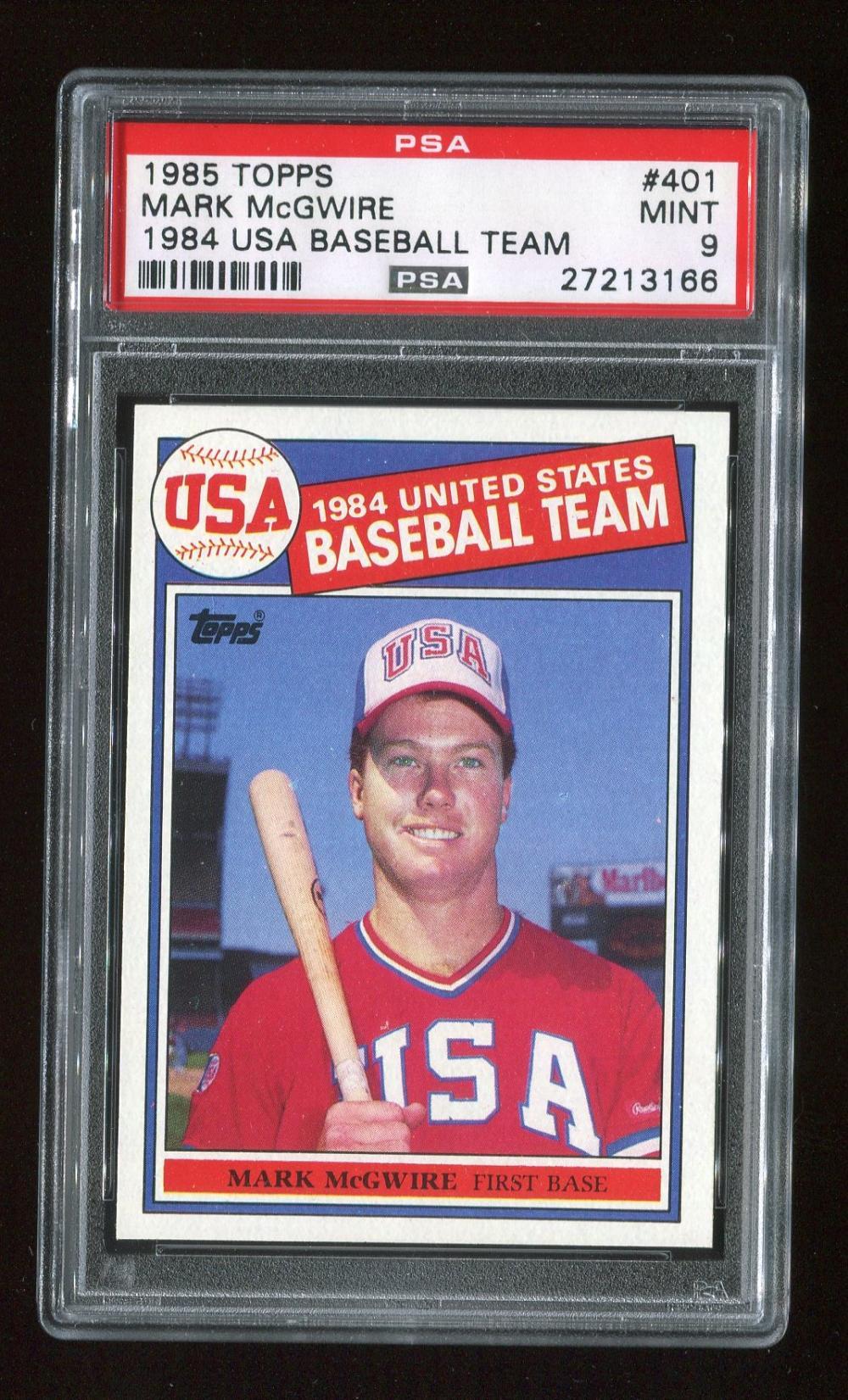 1985 Topps Mark Mcgwire 1984 Usa Baseball Team 401 Psa 9 Mint