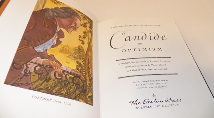a comparison of optimism and reality in candide by voltaire