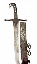 ‡ A PERSIAN SWORD (SHAMSHIR), LATE 19TH CENTURY with curved single-edged bl