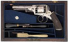 A CASED 80 BORE FIVE-SHOT SELF-COCKING PERCUSSION REVOLVER BY PATTISON, NOT