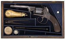 A CASED 80 BORE FIVE-SHOT SELF-COCKING PERCUSSION REVOLVER, BIRMINGHAM PROO