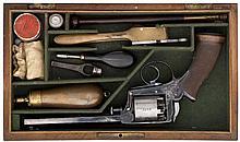 A CASED 54 BORE DEANE-ADAMS 1851 MODEL FIVE-SHOT SELF-COCKING PERCUSSION RE