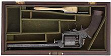 A CASED 38 BORE DEANE-ADAMS 1851 MODEL FIVE-SHOT SELF-COCKING PERCUSSION 'D