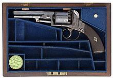 A CASED 80 BORE FIVE-SHOT SELF-COCKING PERCUSSION REVOLVER, SIGNED W. CLARK