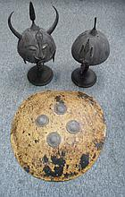 TWO INDO-PERSIAN HELMETS (KULAH-KHUD), 19TH/20TH CENTURY, AND A HIDE SHIELD