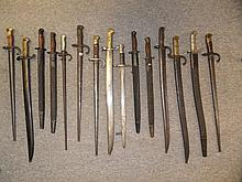 A FRENCH MODEL 1842 SABRE BAYONET; ANOTHER, MODEL 1859; TWO FRENCH MODEL 18
