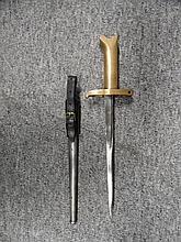 A MODERN COPY OF A PRITCHARD GREENER REVOLVER BAYONET  brass hilt stamped P