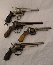 FOUR DOUBLE-ACTION PIN-FIRE REVOLVERS, LATE 19TH CENTURY the first with sig