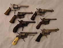 ˜SEVEN PIN-FIRE DOUBLE-ACTION REVOLVERS, LATE 19TH CENTURY the first with B