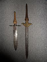 TWO CONTINENTAL PLUG BAYONETS, MID-17TH CENTURY the first with double-edged