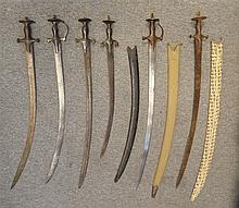 SIX INDIAN SWORDS (TALWAR), 18TH/19TH CENTURY with curved blades and hilts
