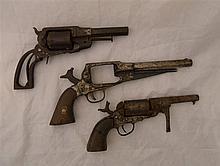 THREE INCOMPLETE PERCUSSION REVOLVERS, CIRCA 1860 the first of Remington Ne