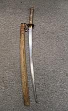 A JAPANESE W.W.II N.C.O.'S SWORD (KATANA) with curved single-edged fullered