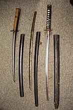 THREE JAPANESE SWORDS (KATANA) the first with curved single-edged blade, si