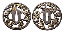 TWO CIRCULAR IRON SOTEN TSUBA, 20TH CENTURY