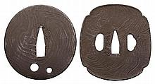 TWO IRON ITAME (WOOD GRAIN DESIGN) TSUBA, 19/20TH
