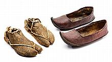 **A PAIR OF CHINESE LEATHER SANDALS, JAPANESE STRAW SANDALS (WARAJI)
