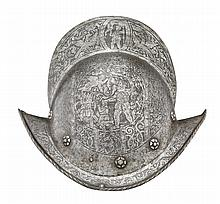 A GERMAN COMB-MORION, NUREMBERG, CIRCA 1580, WITH LATER ETCHED DECORATION