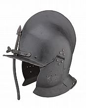 A FINE GERMAN SAPPER'S BURGONET OF SHOT-PROOF WEIGHT, LATE 16TH CENTURY