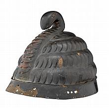 A JAPANESE LACQUERED LEATHER AND IRON HELMET (NERI GAWA), EDO PERIOD