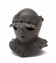 **A MINIATURE CLOSE HELMET OF SO-CALLED 'SAVOYARD' TYPE, POSSIBLY EARLY 17TH CENTURY NORTH ITALIAN