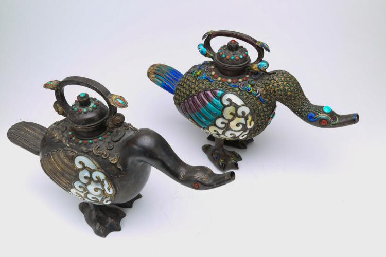 Pair of chinese cloisonne copper wild goose pot