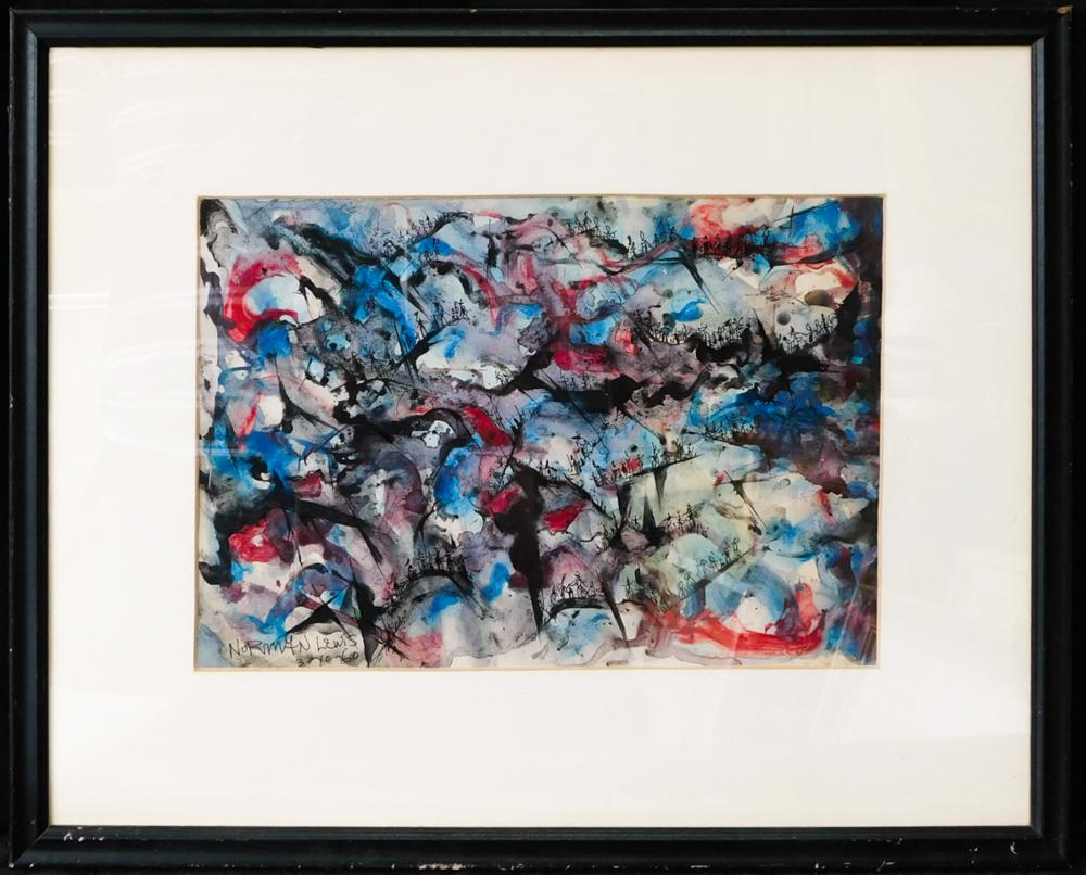 Norman Wilfred Lewis (New York 1909 - 1979) | Watercolor and Ink on Paper dated 3/10/60.