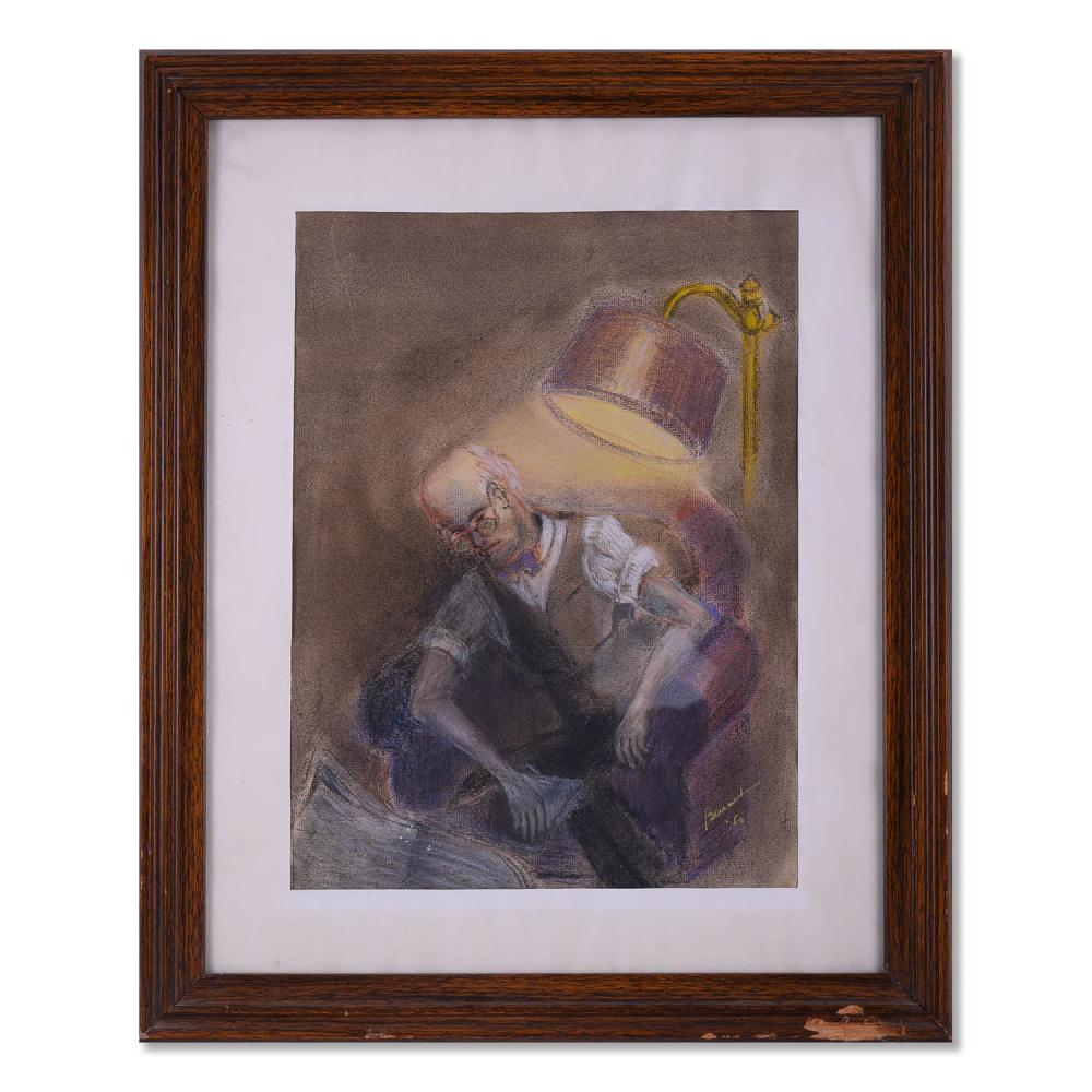 """Mid Century Impressionist Watercolor On Paper """"Man Under Lamp"""""""